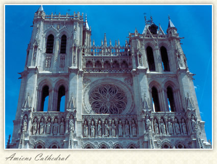 Rose Window, Towers, Amiens Cathedral, France